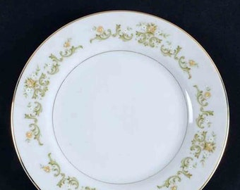 Vintage ( early 1990s) Towne House Golden Regal 3090 bread-and-butter | tea plate. Green and yellow florals, platinum edge and inner band.