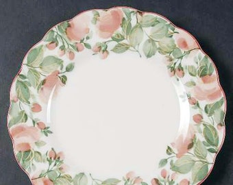 Vintage (1993) Nikko Precious 9303 salad or side plate. Pink | red florals and greenery, scalloped red enamel edge. Made in Japan.