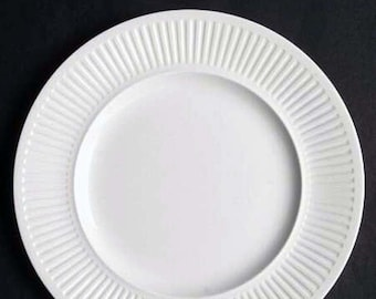 Set of 3 vintage (1960s, 1980s) Johnson Brothers Athena White classic all-white ribbed dinner plates. Different backstamps.