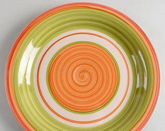 Vintage (early 1990s) Pier 1 Valencia large, hand-painted dinner plate | charger. Rust, green and peach swirls. Made in Italy.