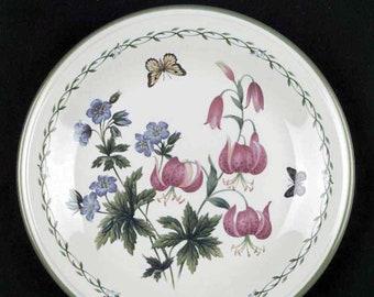 Vintage Studio Nova Garden Bloom Y2372 pattern salad   side plate.  Pink, purple florals, greenery, butterfly smooth, green edge. Thailand.