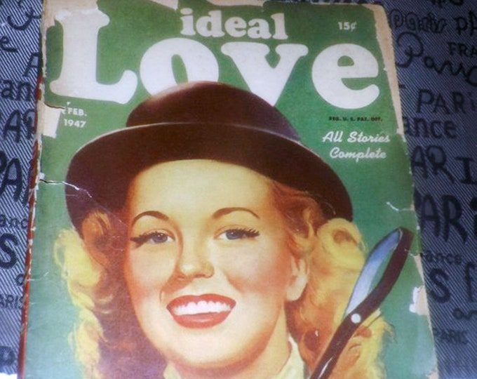 Early mid-century (February, 1947) Ideal Love pulp romance, love story, pulp fiction magazine. Volume 9, No. 4.