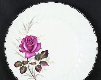 Vintage (1960s) Myott Anniversary Rose pattern dinner plate.  Bright red rose, scalloped, gold edge, swirled verge.