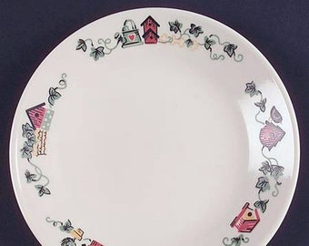 Vintage Corelle | Corning | Corningware Garden Home bread-and-butter, dessert, or side plate. Birdhouses, potted ivy. Made in USA.