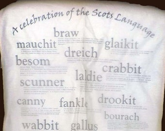 Vintage (mid 1990s) Sprint Design Stirling Scotland 100% cotton Scottish Dialect tea towel.  Too cute.  Made in Scotland.