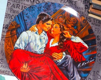 Vintage (1986) limited-edition, numbered Knowles Scarlett O'Hara, Rhett Butler The Finale collector plate. Gone with the Wind series, gold.