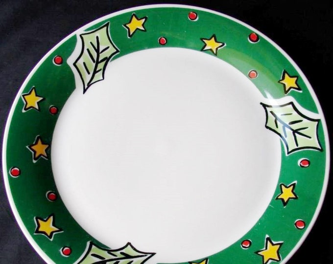 Gibson | Gibson Designs Christmas Treasures large dinner plate. Green band, Christmas holly, yellow stars, red dots.