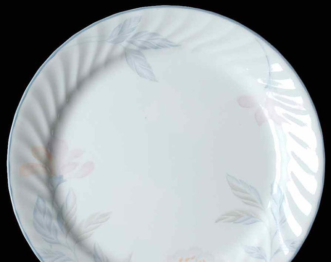 Vintage (mid 1990s) Corelle USA Pink Trio large dinner plate | charger. Pink gray florals and leaves, swirled verge, gray edge. USA made.