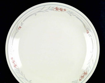 Vintage (1994) Corningware | Corelle USA Rose pattern dinner plate.  Pink flowers, grey bands and leaves on white. Made in USA.