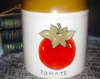 Vintage (1990) TAG Ltd. vegetable series Red Tomato | Tomate large canister with vacuum-sealed lid.