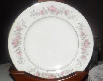 Vintage (1970s) Premiere Fine China Japan Rose Garden pattern 3740 salad | side plate. Pink rose sprays, blue florals, platinum edge.