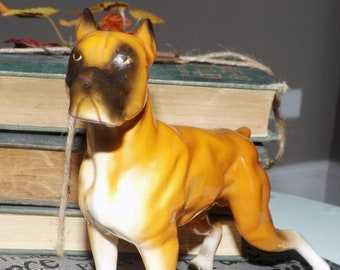 Mid-century (1950s) NC Cameron | Enesco ceramic boxer dog figurine in standing position.