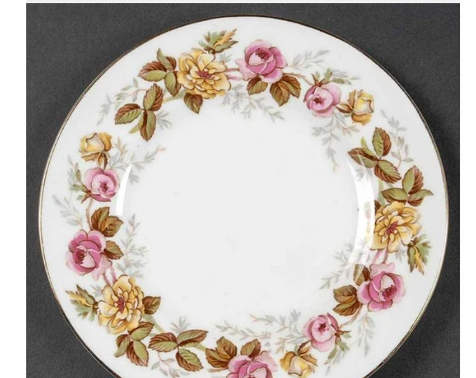 Vintage (1930s) Coalport Rosalinda bread, dessert, side plate made in England. Pink and yellow roses, gold edge.
