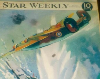 Mid-century (January 22, 1944) RARE! The Star Weekly | Toronto Star magazine WWII-era issue. RCAF Kayoes a Prowler cover.