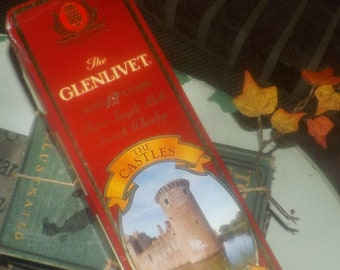 Vintage (1980s) The Glenlivet lithographed scotch tin. Castles of Scotland made in England by Barringer Wallace Manners. Caerlaverock Castle