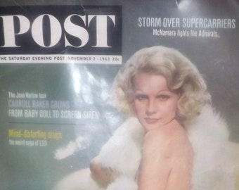 Vintage (1963) POST Magazine | Saturday Evening Post Magazine November 2, 1963. Caroll Baker as Jean Harlow on cover.
