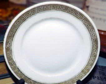 Almost antique (1920s) Royal Bayreuth ROB444 gold-encrusted Greek key bread-and-butter, dessert, or side plate. Made in Bavaria | Germany.
