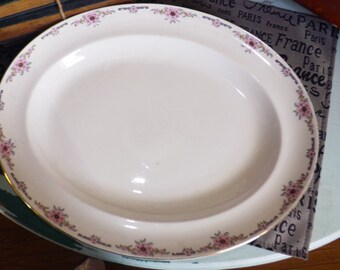 Almost antique (1920s) Alfred Meakin Milldale oval turkey | meat platter. Pink florals, black Greek key, gold edge.