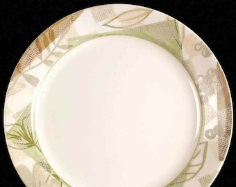 Corelle | Corning Textured Leaves pattern dinner plate. Green, tan geometrics, flowers, grapes and leaves. Pattern retired 2010. Made in USA
