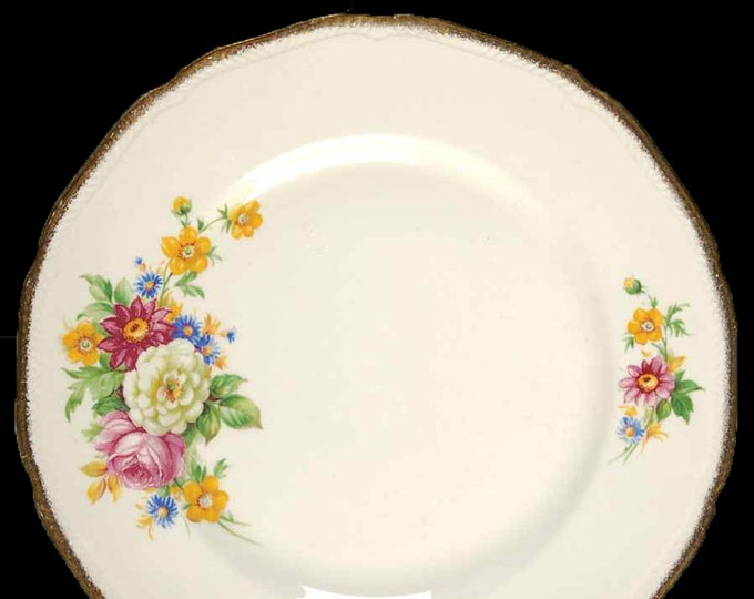 Early mid-century Royal Swan Booths & Colclough Riverdale bread, dessert, side plate made in England. Sold individually.