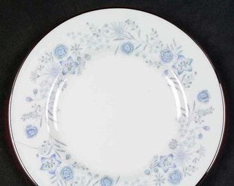 Vintage (1960s) Wedgwood Belle Fleur pattern R4356 bread-and-butter, dessert, or side plate. Blue, grey flowers, smooth platinum edge.