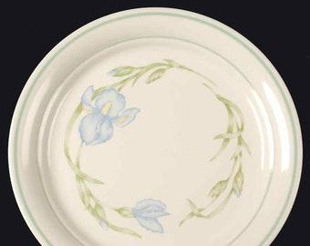 Vintage (mid 1990s) Corning Iris luncheon or breakfast plate. Blue iris florals, greenery, green bands.  Corning Corner Stone.