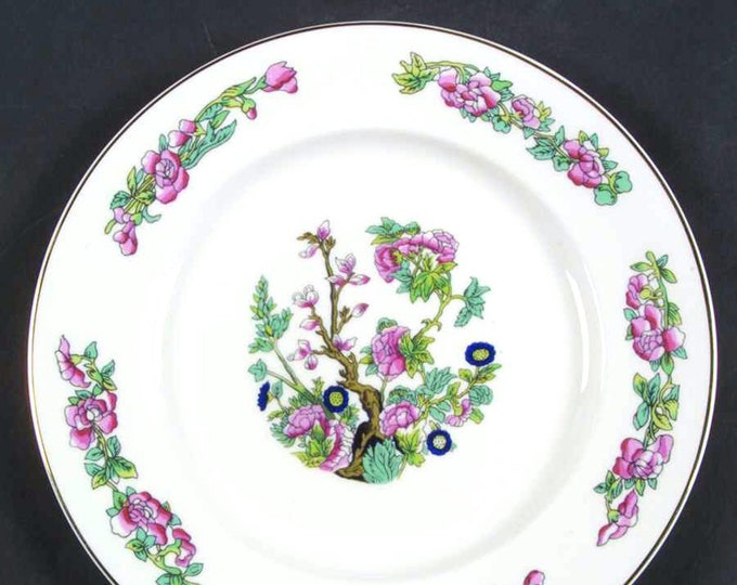 Vintage (1970s) Mayfair China England MYF7 Indian Tree salad or side plate.  Smooth gold edge.  Chinoiserie.