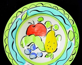 Vintage (1995) Sango large, rimmed soup bowl in the Orchard 6103 pattern. Hand-painted apple, pear and berry imagery.