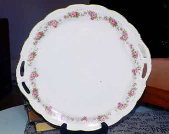 Antique (1910-1919) Eagle China Carlsbad Austria ECA5 handled or lugged cake, cookie, pastry plate. Embossed detail, pink flowers, gold edge