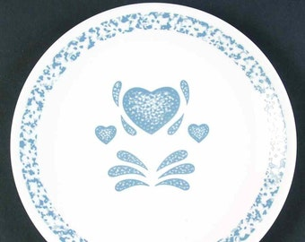 Vintage (1980s) Corelle | Corningware | Corning USA Blue Hearts pattern bread-and-butter or side plate. Blue sponged border. Made in USA.