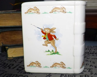 Vintage (1970s) Royal Doulton Bunnykins figural, book-shaped coin bank. Baby Shower | Baby Gift | New Baby.