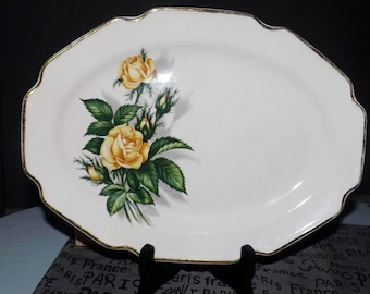 Mid-century Royal Darwood Moss Rose oval vegetable platter made in England.