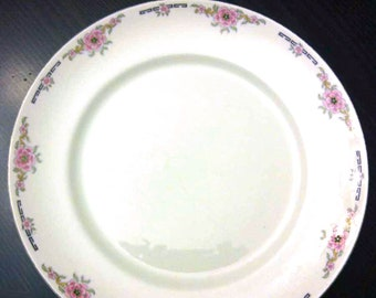 Almost antique (1920s) Alfred Meakin Milldale salad or side plate. Pink florals, black accents, gold edge.