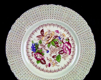 Early mid-century (1940s) Myott Swing Time luncheon plate. Multicolor florals, swirled verge, scalloped edge.
