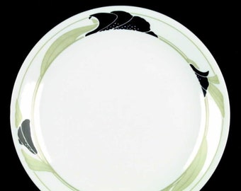 Vintage (1990s) Corelle Black Orchid pattern dinner plate.  Black flowers, green leaves. Made in USA.
