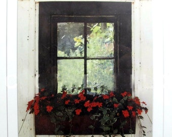 American artist Tony Casper.  The Inner Garden signed art print, professionally framed under glare-resistant glass. Gilt-wood frame.