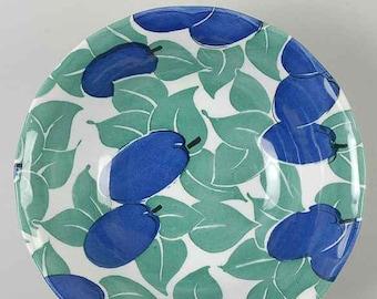 Vintage (1990s) Grindley Garden Fruits cereal bowl.  Designed by Ingrid Bergé.  Blue plums and green leaves.