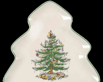 Vintage (1986) Spode Christmas Tree S3324 figural tree-shaped nut or candy dish. Christmas tree graphic, green edge.