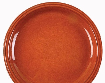 Vintage (1980s) Denby Autumn Gold stoneware dinner plate.  Burnt Orange | cinnamon, ribbed border band.