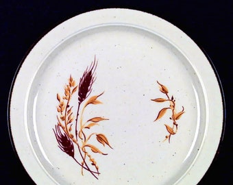 Vintage (1980s) Anchor Hocking | Anchor Dinnerware Kansas stoneware salad | side plate. Brown, gold wheat. Made in Japan.