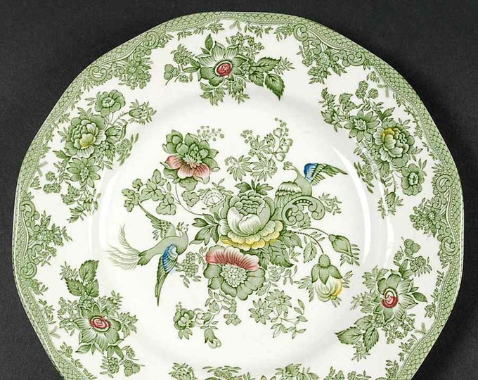 Vintage (1960s) Wedgwood Kent Green Multicolor dinner plate. Green, blue, red, yellow florals. England.