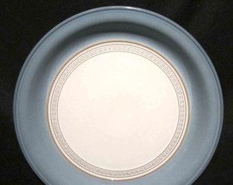 Vintage (1980s) Denby Castile large dinner plate. Blue embossed tan geometric band.