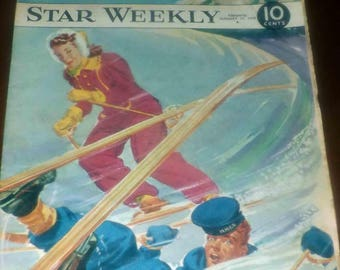 Mid-century (January 13, 1945) RARE! The Star Weekly | Toronto Star magazine WWII-era issue. HMCS naval soldier learning to ski on cover.