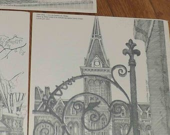 Set of 3 vintage (1975) important architectural pencil drawings by Canadian Artist Willem Hart. Heavy cotton-fiber paper. Signed, dated.