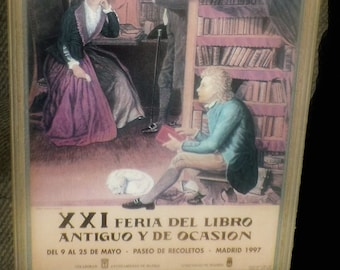 Vintage (1997) framed XXI Feria del Libro poster. Art of William Bothwick Johnstone. Bleached wood frame under glass.