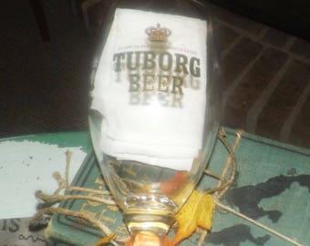 Vintage (1980s) Tuborg Danish beer stemmed pint glass.  Etched-glass branding, gold rim.