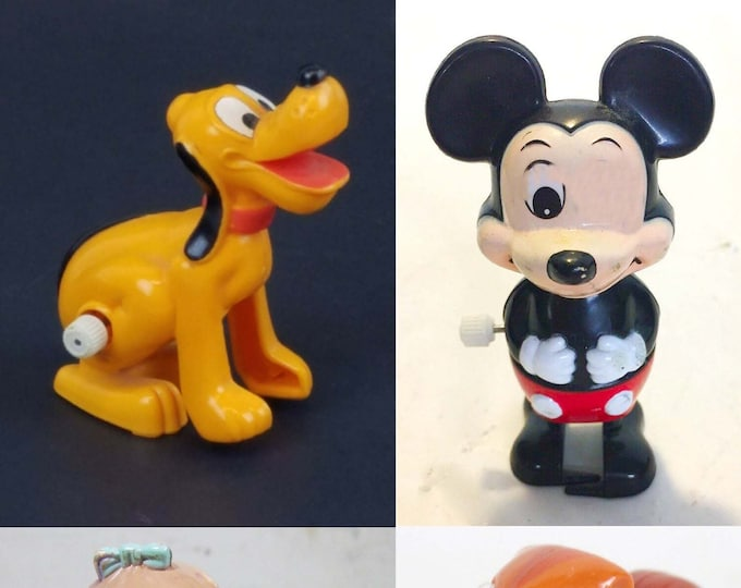 Vintage (1977) Walt Disney | Tomy wind-up toys.  Choice of character.  All made in Taiwan.