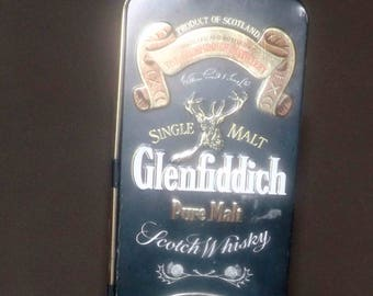 Vintage (1980s) Glenfiddich Clans of the Highlands Clan MacPherson lithographed (empty) single-malt scotch whisky tin.  Made in England