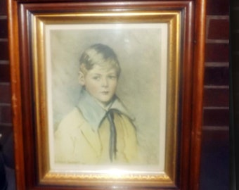 Early mid-century (1940s) pair of framed child portraits Peter by Arthur Garratt, Charlotte by Sydney Bell. Solid wood frames, gold insets.