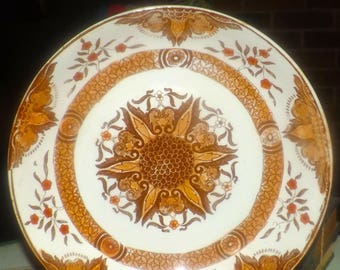 Antique (1910) and scarce Abool Gani Haji Sakoor | AGHS Bombay pattern hand-painted serving bowl. Made in England.